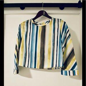 Zara - cropped satin striped blouse - size small